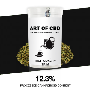 Art of CBD Processed Hemp Tea: CBD Trim – Processed Cannaboid Content 12.3% CBD – 10g