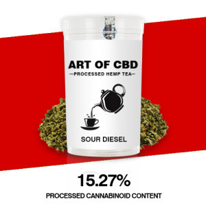 Art of CBD Processed Hemp Tea: Sour Diesel – Processed Cannaboid Content 15.27% CBD – 10g