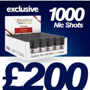 Nicoflo Nic Shot – 1000pcs – Retail Ready Box